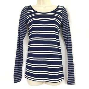 NWT Poof Top Striped White Blue Fitted T-Shirt
